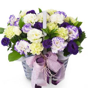 카네이션꽃바구니-리시안 보라미색 혼합바구니